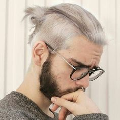 Crew Cut Man Bun, Beard Guys, Glasses, White Hair, Hipster Guys