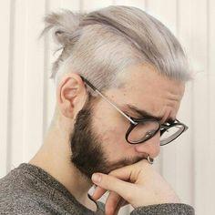 Crew Cut Man Bun, Beard Guys, Glasses, White Hair, Hipster Guys