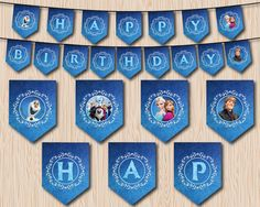 Frozen Birthday Banner Printable Frozen Banner by MaryAnnColors