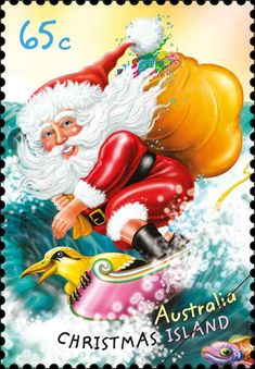 Australia Post has produced stamps for Christmas Island since Aussie Christmas, Australian Christmas, Beach Christmas, Noel Christmas, Christmas Themes, Coastal Christmas, Christmas Stuff, Santa Cartoon, Handpainted Christmas Ornaments