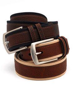 Nautica Twill Overlay Leather Belt - Mens Men's Belts - Macy's