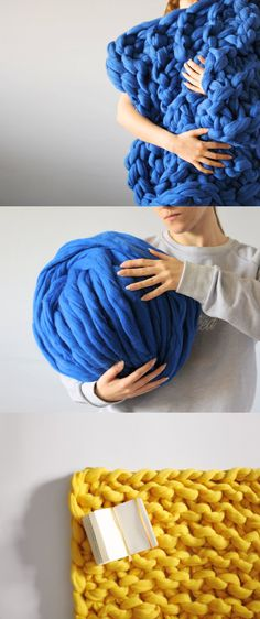 New DIY Thick knitting yarn. Chunky blanket. Giant knit. by Ohhio