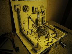 3D Illustrations Come Alive on the Page! 3D pencil drawing by Nagai Hideyuki - My Modern Metropolis