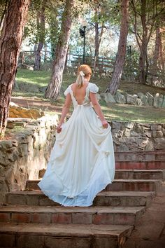 Grecian Long Wedding Gown Ivory-Cream Wedding Dress Lace and Muslin Bridal Gown - Handmade by SuzannaM Designs