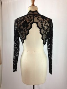 Baylis & Knight Black SCALLOPED Lace Cropped Long Sleeved Bolero Cardigan Wrap Stole Shrug