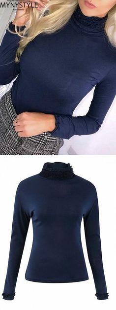 af1d41624a6d7c Shop Online for MYNYSTYLE Royal Blue High Neck Frill Trim Long Sleeve Women  Blouse at $19.99