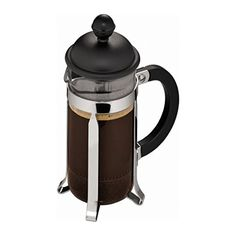 Bodum Caffettiera - French Press Cafetiere - Heat Resistant Borosilicate Glass with Black Handle and Lid - 3 Cups/0.35l