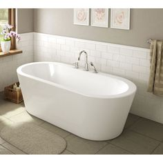 A&E Bath and Shower Una Pure Acrylic 71 In All in One Oval Freestanding Tub Kit