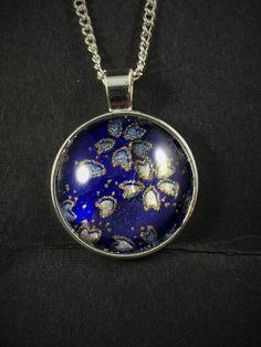 Japanese Washi Glass Cabochon Pendant Necklace Blue Gold White Sakura Flowers by ManabizzleCreations on Etsy