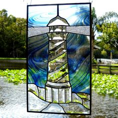Lighthouse Stained Glass Panel with Beveled Glass