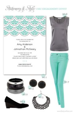 Stationery & Style: Chic Engagement Party Outfit | featuring our 'Iron Lace' party invitation