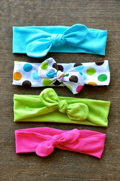 These are pretty cute and you can use up-cycled t-shirts, if you'd like.  Easy to understand instructions, just remember to make a bit longer for older girls (this tutorial gives dimensions for a baby's headband)