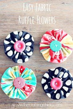 These fabric flowers are so fun and easy to make. great sewing tutorial. More