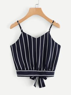croptop juveniles Shop Striped Split Tie Back Crop Cami Top online. SheIn offers Striped Split Tie Back Crop Cami Top amp; more to fit your fashionable needs. Striped Cami Tops, Cami Crop Top, Crop Tops, Cute Tank Tops, Cropped Cami, Teen Fashion Outfits, Casual Outfits, Cute Outfits, Party Outfits