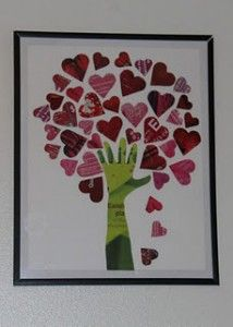 Magazine Tree of Hearts- Valentine's Day art project, Valentine's craft. OR my way... grandparents hand & kids/grandkid hearts, perfect family tree!