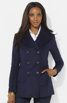 Free shipping and returns on Lauren Ralph Lauren Double Breasted Wool Blend Peacoat (Online Only) at Nordstrom.com. A soft wool blend shapes a classic peacoat tailored for a shaped fit and detailed with a button-off tab in back.