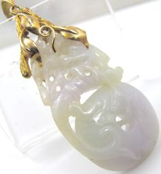 Antique Chinese 14K Carved Jade Pendant by TonettesTreasures