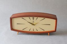 Vintage teak mantle desk clock table clock Weimar by MightyVintage Modern Mantel Clocks, Vintage Mantel Clocks, Tabletop Clocks, Modern Clock, Mid-century Modern, Desk Clock, Clock Table, Modern Tabletop, Leather Chair With Ottoman