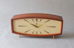 Vintage teak mantle desk clock table clock Weimar GDR East German Mid-Century Modern 50s 60s