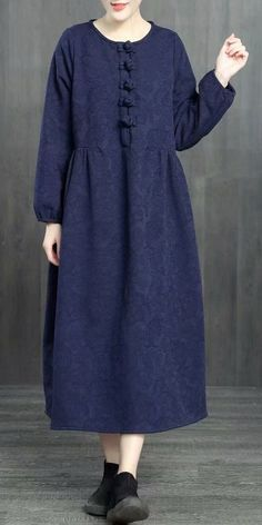 <img> Chinese Style Loose Cotton Linen Brushed Dresses For Women 1363 - Linen Dresses, Cotton Dresses, Women's Dresses, Vintage Dresses, Casual Dresses, Muslim Fashion, Hijab Fashion, Fashion Dresses, Best Formal Dresses