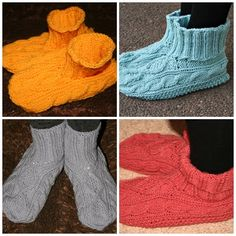 Our family favorite slippers. Warm slippers, a cup of tea, a good book - perfect winter afternoon.  Drops pattern 156-55.