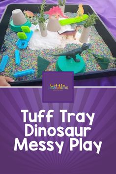 Little one loves dinosaurs? Then they'll love this messy play small world! A great Tuff Tray idea for sensory play.   #sensoryplay #tufftray Tuff Tray, Messy Play, Learning Through Play, Sensory Play, Small World, Dinosaurs