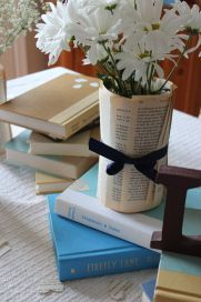 book page vase centerpiece