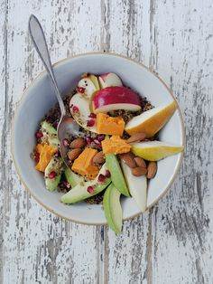 This bowl of good-for-you foods is perfect for an energy-boosting light lunch or sharing snack, with chunks of South African Packham or William Pears and Pink Lady Apples, with cooked quinoa, avocado, chunks of Red Leicester cheese and a few whole almonds.Preparation: 10 minutes Cooki