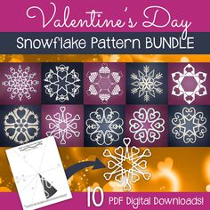 Valentine's Day paper snowflake templates - printable patterns to cut out at home. Perfect for Valentine's Day decor, or to surprise a loved one!   #snowflake #papersnowflake #printable #valentine #valentinesday #papersnowflakes #snowflakes #papercraft #paper #hearts #cupcake