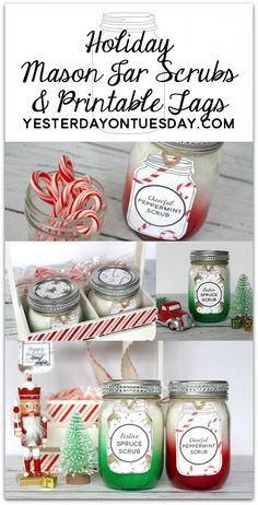 Holiday Mason Jar Scrubs and Printable Tags: Simple and super festive Christmas gift idea for family, friends, neighbors and teachers. Spruce and Peppermint scents make them fabulously festive! christmas gifts for teachers Red Mason Jars, Christmas Mason Jars, Mason Jar Gifts, Mason Jar Diy, Gift Jars, Handmade Christmas Gifts, Homemade Christmas, Christmas Crafts, Holiday Gifts