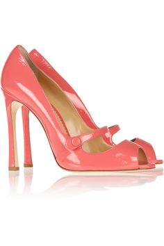 Oscar de la Renta selma patente-couro bombas rosa