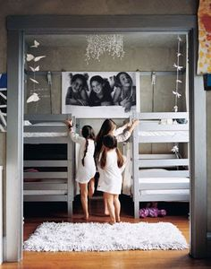 So cute!  Make two rooms into one with the partition walls..one room for the beds and one for the sitting area..LOVE!