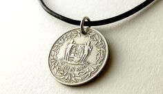 Suriname Coin necklace Coin jewelry Leather by CoinStories on Etsy