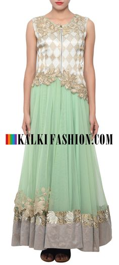 Buy Online from the link below. We ship worldwide (Free Shipping over US$100) http://www.kalkifashion.com/pista-green-suit-embellished-in-zari-cut-work-border-only-on-kalki.html