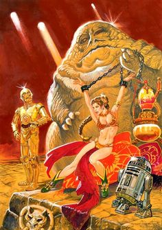 Star wars art with slave Leia, and Jabba the Hutt Slave Leia Art, Princess Leia Slave, Star Wars Princess Leia, Star Wars Film, Star Wars Poster, Chasseur De Primes, Science Fiction, Non Plus Ultra, Leia Star Wars