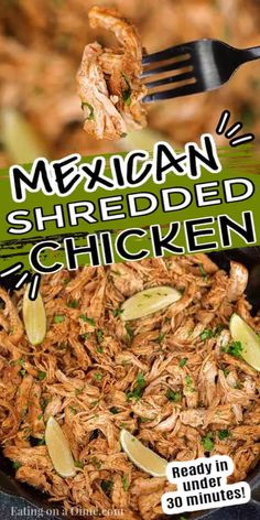 Get dinner on the table in 30 minutes with this easy and authentic Mexican shredded chicken recipe. The options are endless for salads, tacos, burritos, nachos and more! Learn how to make the best juicy shredded Mexican chicken on the stove top. #eatingonadime #mexicanshreddedchickenrecipe #quickdinners #keto #recipes Mexican Chicken Tacos, Mexican Shredded Chicken, Chicken Taco Recipes, Mexican Food Recipes, Recipe Chicken, Authentic Mexican Chicken Recipes, Authentic Chicken Tacos, Healthy Shredded Chicken Recipes, Crockpot Shredded Chicken Tacos