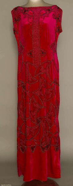 House of Adair, Beaded Velvet Evening Dress. French, 1920.