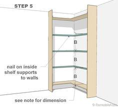 step 5 - corner bult-in bookshelves Corner Bookshelves, Floating Bookshelves, Book Shelves, Bookcases, Build In Bookshelves, Tree Bookshelf, Bookcase Door, Bookshelf Ideas, Bookshelf Styling