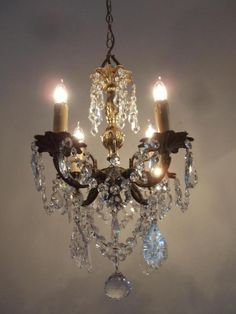 Antique italian french gold tole beaded crystal tiny chandelier antique vtg brass w bohemian czech french crystals xtra petite chandelier aloadofball Images