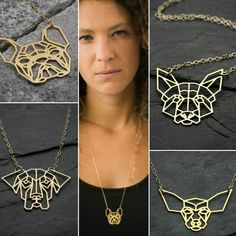 Original and unique geometric dogs necklaces Goldfilled or Sterling silver. Now for sale on ByYaeli store on Etsy.  www.byyaeli.etsy.com  #byyaeli #petnecklace #dognecklace #geometricnecklace #origamidog #origamidognecklace #origaminecklace #etsyjewelry #etsyshop #etsyseller