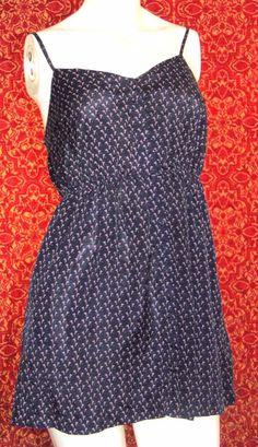 TWENTY ONE Navy w/Bows spaghetti strap polyester mini jumper Jr M (T44-01D6F) #TwentyOne #Sundress #SummerBeach