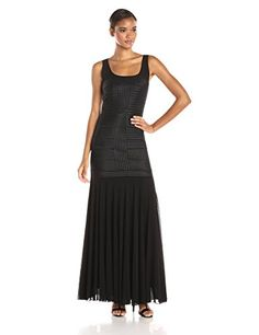 JS Collection Womens Mesh and Satin Long Gown with Piped Satin Bodice Detail Black 10 * You can find out more details at the link of the image.