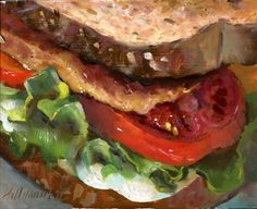 Original artwork from artist Hall Groat II on the Daily Painters Gallery Art Painting Gallery, Food Painting, Tomato Sandwich, Soup And Sandwich, Soup Recipes, Chicken Recipes, Bread Oil, Food Tattoos, Watercolor Food