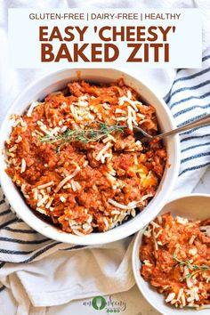 This Easy 'Cheesy' Baked Ziti is made with gluten-free noodles, homemade cashew ricotta 'cheese', and classic baked ziti flavors.  It's a delicious and easy dinner recipe.  The whole family will love this baked casserole! Ana Ankeny - Healthy Recipes