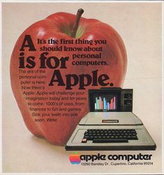 1978 APPLE II COMPUTER Original Vintage Ad A is for Apple by phorgotten
