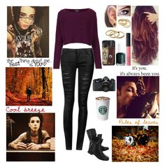 """""""✖ Golden leaves are dancing on the ground It's getting cold say some time we'll be forever young never old ✖"""" by blueknight ❤ liked on Polyvore featuring Topshop, Hush Puppies, NARS Cosmetics, Essie, Kendra Scott, Nikon, Love Quotes Scarves and F"""