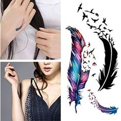 Iusun Fashion 3D Feather Temporary Tattoo Sticker Waterproof Body Art Painting >>> Want to know more, click on the image. (This is an affiliate link) #TemporaryTattoos