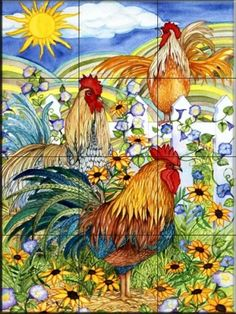 Rooster Tile Mural. I have found a great place to enjoy window shopping and a great cover for my online recipe book!