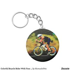 Colorful Bicycle Rider With Your Personal Name Basic Round Button Keychain