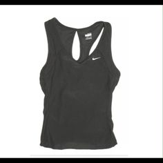 Nike Fit Dry Black Tank Top Tear Drop Racer Back Nike Fit Dry Black Tank Top Built In Shelf Bra Tear Drop Racer Back SMALL 4-6 It is in gently used, overall good clean condition.   •V Neckline front •Racerback with a teardrop opening •Built in shelf bra •Size Small (4-6) •Bust: 28 inches around unstretched •Length: 17 inches •Body: 88% Polyester, 12% Spandex •Mesh Insets: 88% Polyester, 12% Spandex •Bra Insets: 81% Nylon, 19% Spandex •Bra Cups: 92% Polyester, 8% Spandex…